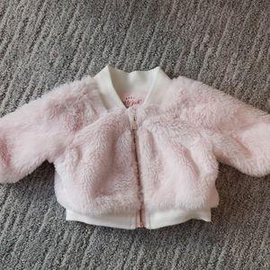 Newborn pink fur bomber jacket